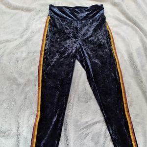 Aerie• velvet navy leggings with side stripes